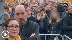 El director de TV3, Vicent Sanchis, en la manifestación independentista organizada este sábado por la ANC.