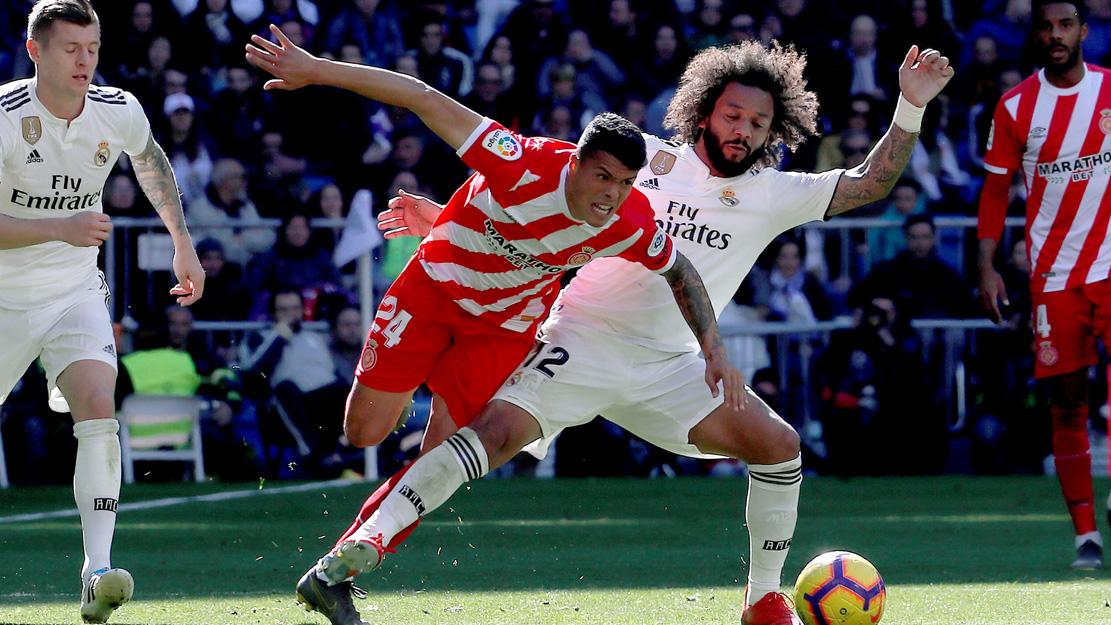 Marcelo y Porro, en el Real Madrid – Girona. (EFE).