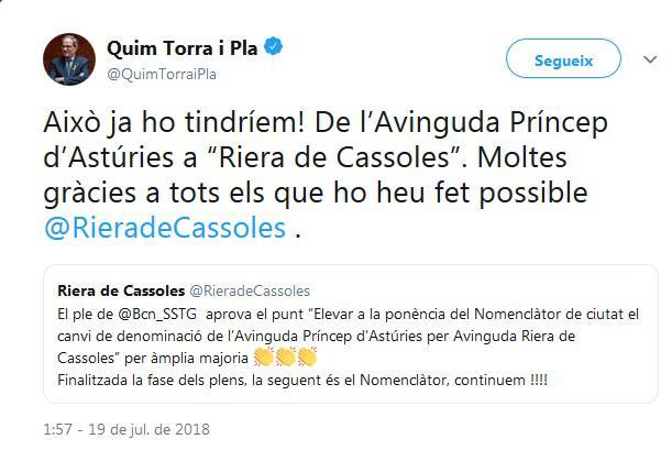 Colau 'regala' a Torra el cambio de su calle: ya no vivirá en la Príncipe de Asturias
