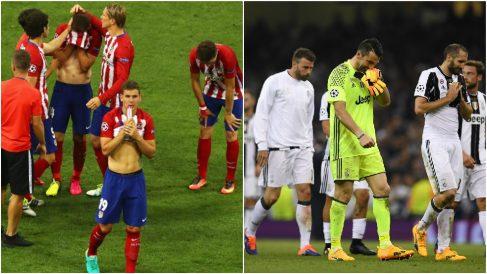 Jugadores del Atlético de Madrid y Juventus se lamentan tras perder una final de Champions League.