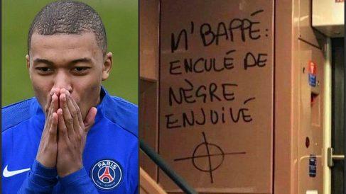 Pintadas racistas contra Mbappé en el metro de París.