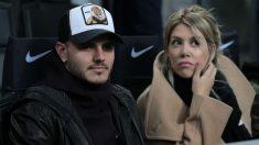 Mauro Icardi y Wanda Nara durante el último partido del Inter de Milán, ante la Sampdoria (Getty).