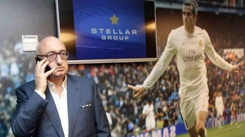 Jonathan Barnett, agente de Gareth Bale, con el galés de fondo.
