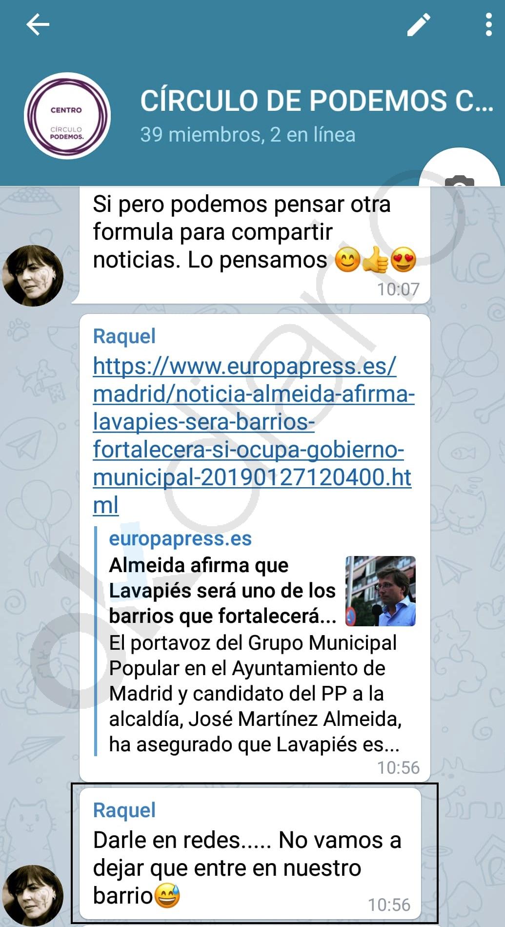 Una asesora de Carmena organiza un 'cordón sanitario' para impedir que Almeida entre en Lavapiés