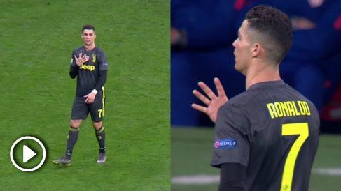 Cristiano Ronaldo enseña la 'manita' en el Metropolitano.