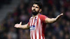 Diego Costa protesta durante el Atlético-Juventus. (AFP)