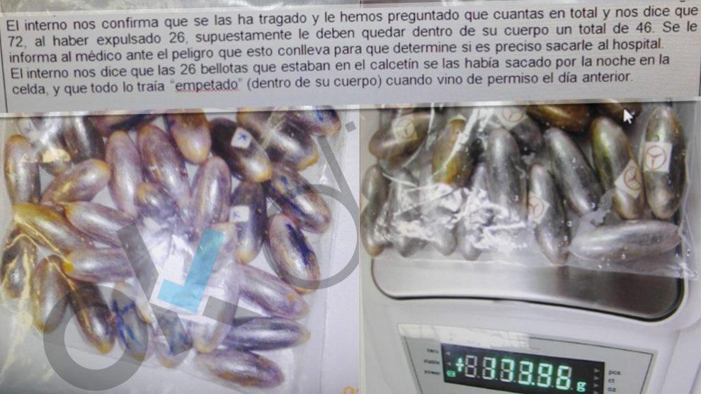 Interceptan 72 bellotas de hachis en un interno que salió de permiso. Fuente:tu abandono me puede matar