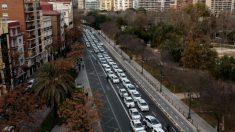 Paro de taxis en Valencia el pasado 14 de febrero
