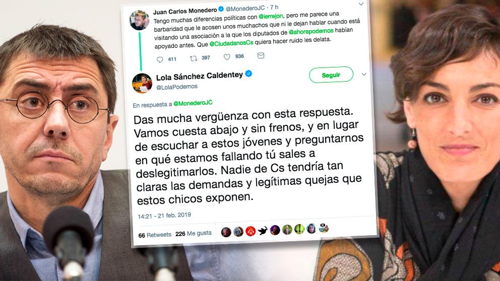 Juan Carlos Monedero, Lola Sánchez y el intercambio de tuits.