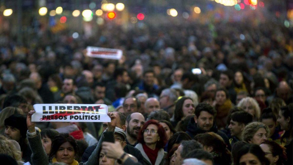 Manifestación de la huelga general independentista en Barcelona. Foto: EFE