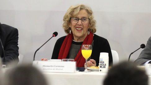 La alcaldesa Manuela Carmena en el acto del ICAM. (Foto. Madrid)