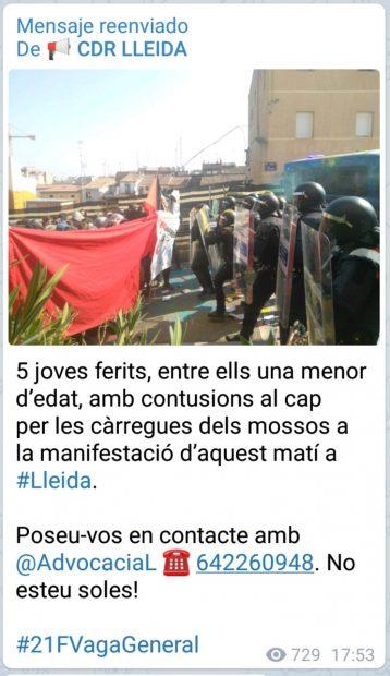 Los CDR utilizan a menores como escudos humanos frente a los Mossos en la huelga de Cataluña