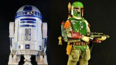 Dos de las figuras que se pueden ver en la exposición gratuita sobre Star Wars en el Corte Inglés de Sanchinarro.