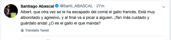 """Mensaje de Abascal a Rivera tras los insultos de Valls: """"El gallo francés está muy alborotado, guárdalo"""""""