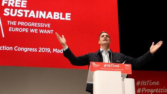 El secretario general del PSOE y presidente del Gobierno, Pedro Sánchez, durante su intervención en la última jornada de la convención del Partido Socialista Europeo (PES) que ha tenido lugar en Madrid. Foto: EFE