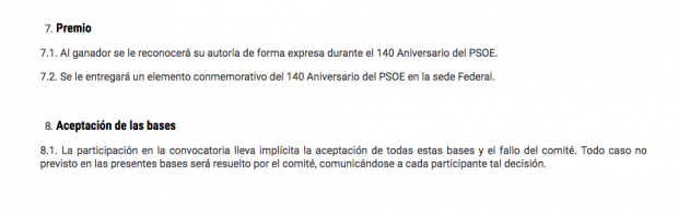 Extracto de las bases del concurso del PSOE para el diseño del logo de su 140 cumpleaños.