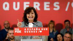 La vicepresidenta del Gobierno, Carmen Calvo, durante su intervención en un acto del PSOE este domingo en Lugo. (Foto: EFE)
