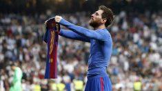 Messi, celebrando un gol en el Bernabéu (EFE).