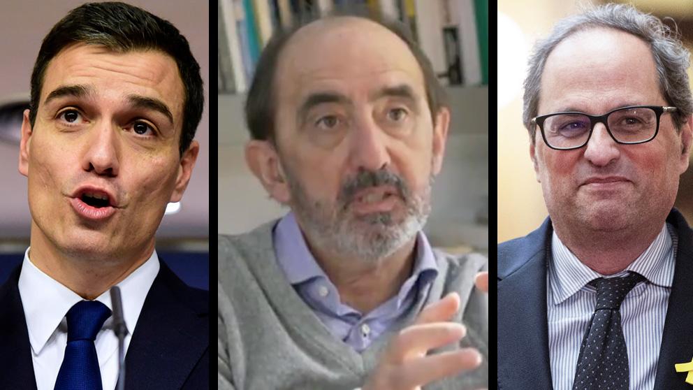 El presidente Pedro Sánchez, el 'relator' Daniel Innerarity y el president Quim Torra.
