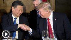 Xi Jinping y Donald Trump en la cena ofrecida por el estadounidense al chino en su mansión de Mar-a-Lago (Florida). (AFP)