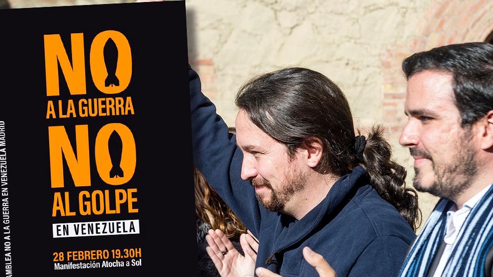 Pablo Iglesias, Alberto Garzón y el cartel de la manifestación de este jueves.