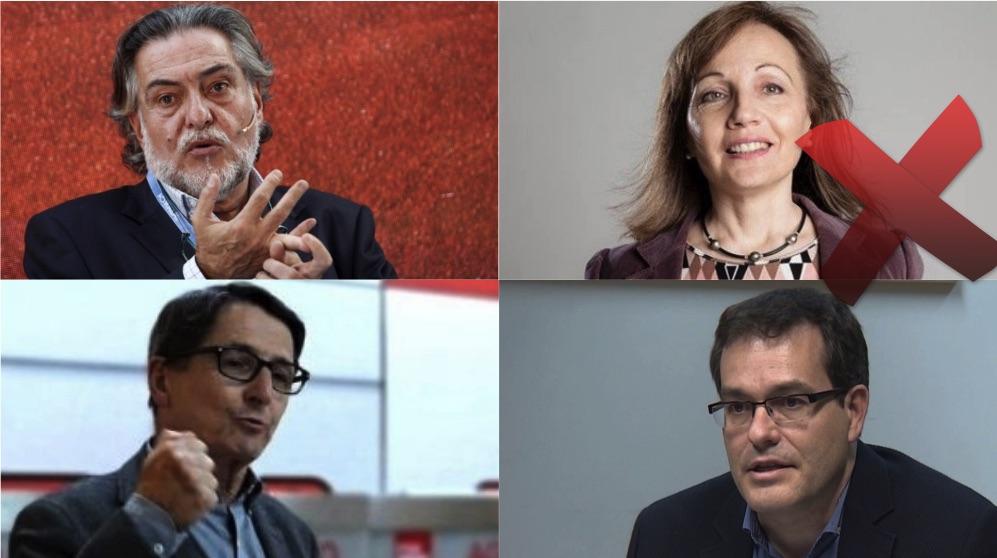 Pepu Hernández, Marlis González, Manuel de la Rocha y Chema Dávila, precandidatos de las primarias del PSOE.