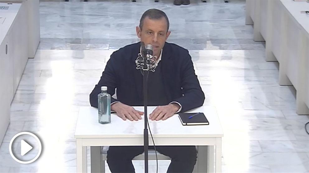 Sandro Rosell, durante su comparecencia.