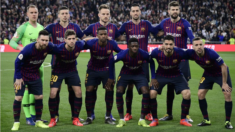El once del Barcelona en el Clásico del Bernabéu. (AFP)