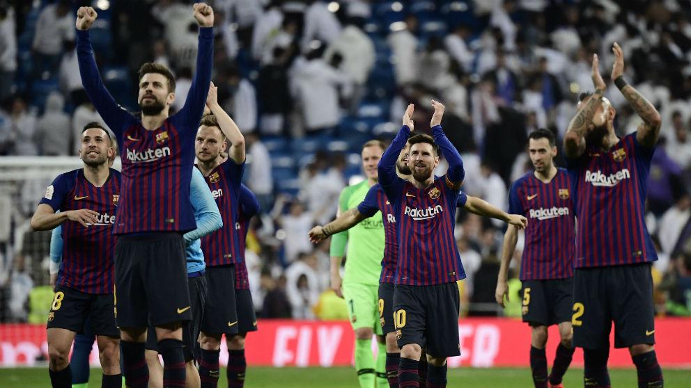 El Barcelona celebra el pase a la final de Copa. (AFP)