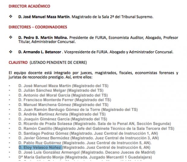 El juez Velasco participó en foros organizados por el abogado que disolvía las empresas de Púnica