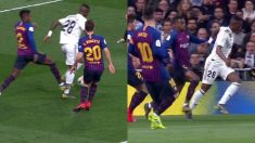 Semedo comete penalti sobre Vinicius e Sánchez Martínez no lo pita.
