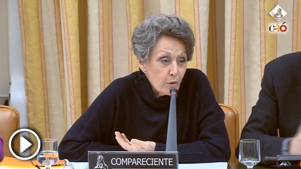 La administradora de RTVE, Rosa María Mateo, este jueves en el Congreso.