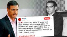 El tuit del PSOE de Pedro Sánchez que utiliza un poema falsamente atribuido a Federico García Lorca por el Día de Andalucía