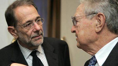 Javier Solana junto a George Soros.