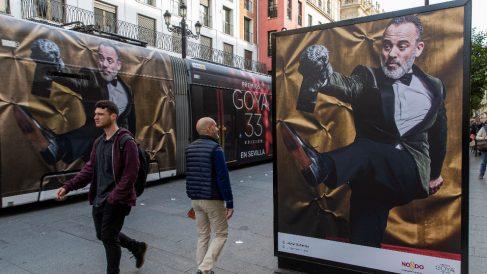Javier Gutiérrez en un cartel presentación de los Premios Goya 2019. Foto: EFE