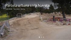 Estado actual de las obras de urbanización, en el anuncio que el alcalde Daniel Pérez publicó en Internet para vender su parcela por 126.000 euros.
