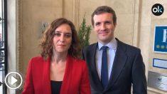 Isabel Díaz Ayuso y Pablo Casado, en el primer 'Diario de Campaña' de la candidata del PP a la Comunidad de Madrid. (Fuente: OKDIARIO)
