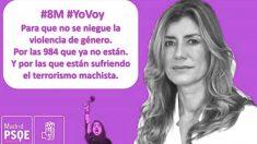 Cartel del PSOE con la cara de Begoña Gómez de cara a la huelga feminista del 8M