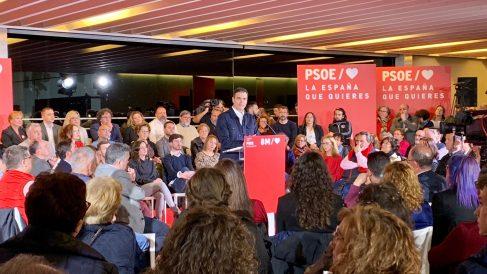 El presidente del Gobierno, Pedro Sánchez, durante el mitin en Ávila. Foto: Joan Guirado