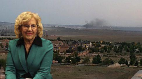 Manuela Carmena y el PAU de Vallecas con los humos de Valdemingómez al fondo.