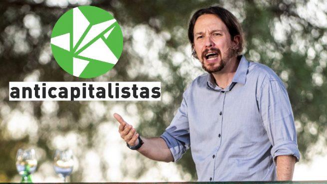 Pablo Iglesias y el logo de Anticapitalistas. (Foto. Podemos)