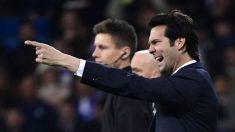 Solari, enfadado en el Real Madrid-Ajax de Champions. (AFP)