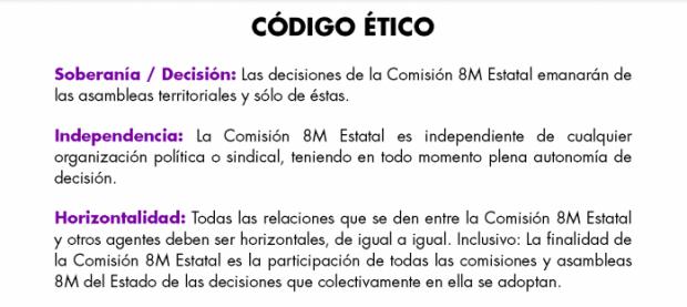 Código ético de la Comisión Estatal del 8 de marzo.