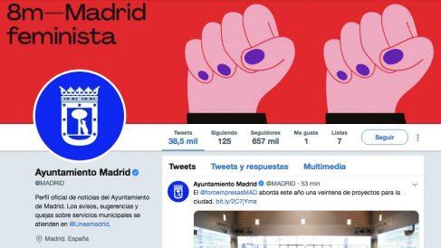 Perfil oficial de Twitter del Ayuntamiento con los polémicos puños.