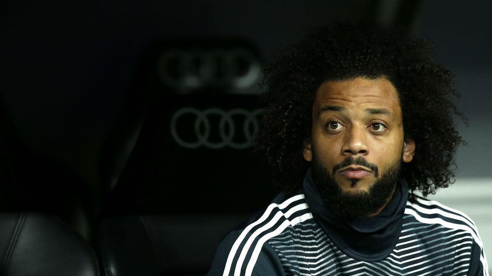 Marcelo, en el banquillo durante un partido del Real Madrid. (Getty)