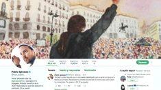 El perfil de Twitter de Pablo Iglesias en el que aparece la imagen del cartel que retiró Podemos de las redes