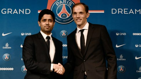 Nasser Al Khelaifi y Thomas Tuchel. (AFP)