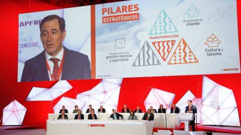 Antonio Huertas, durante la junta de accionistas 2019 de Mapfre