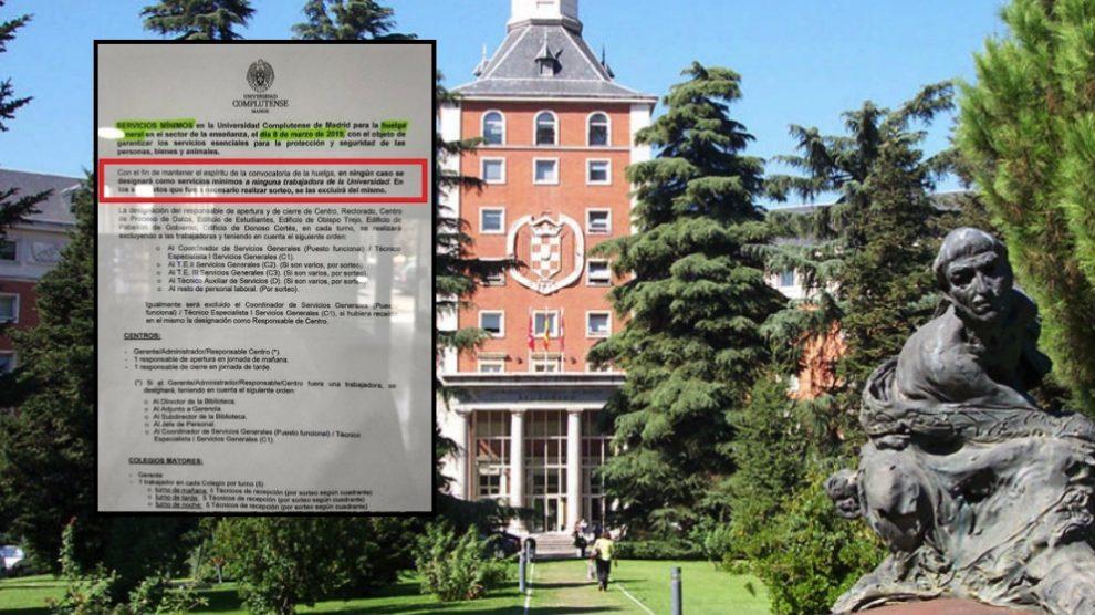 Rectorado de la Complutense y el documento de servicios mínimos.