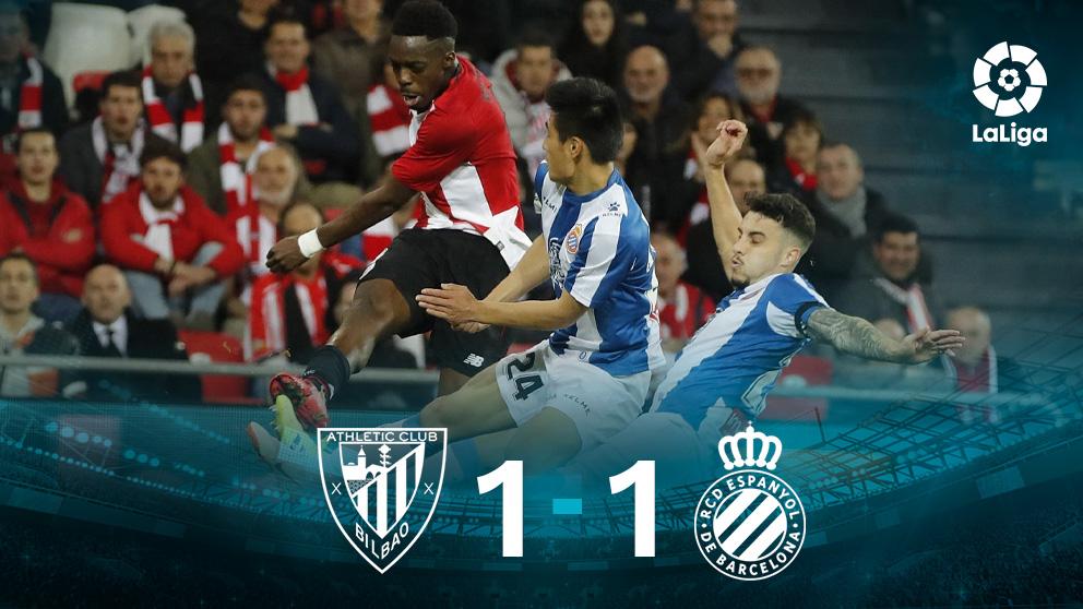 Athletic y Espanyol empatan en San Mamés. (EFE)